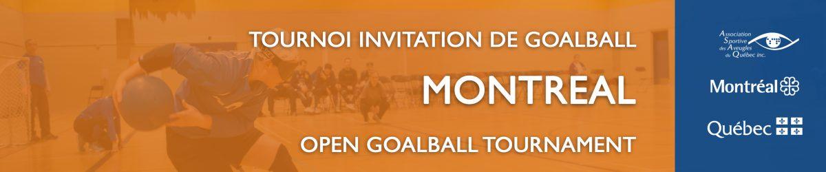 Image. Joueuse de goalball qui s'apprête à lancer sur fond orange et logos de l'ASAQ, Ville de MTL et Gouvernement du Québec sur fond bleu.