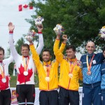TORONTO, ON, AUGUST 8, 2015. Canadians Daniel Chalifour and Alexandre Cloutier celebrate their silver medal in men's road race Mixed B competition at the ParaPan Am Games. Photo: Dan Galbraith/Canadian Paralympic Committee