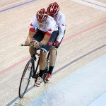 MILTON, ON, AUGUST 10, 2015. Cycling at the Velodrome. Gold medallists Daniel Chalifour & Alexandre Cloutier (BM). Photo: Dan Galbraith/Canadian Paralympic Committee