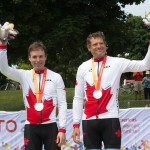 TORONTO, ON, AUGUST 8, 2015. Daniel Chalifour and Alexandre Cloutier celebrate their silver medal in men's road race Mixed B competition at the ParaPan Am Games. Photo: Dan Galbraith/Canadian Paralympic Committee