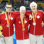 Toronto, Ontario, August 9, 2015. Nicolas Turbide wins gold, Devin Gotell wins silver and Tyler Mrak wins bronze in the mens 100m backstroke at the 2015 Parapan Am Games . Photo Scott Grant/Canadian Paralympic Committee