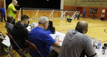 Table des officiels lors d'un match de Goalball au TIGM 2016.