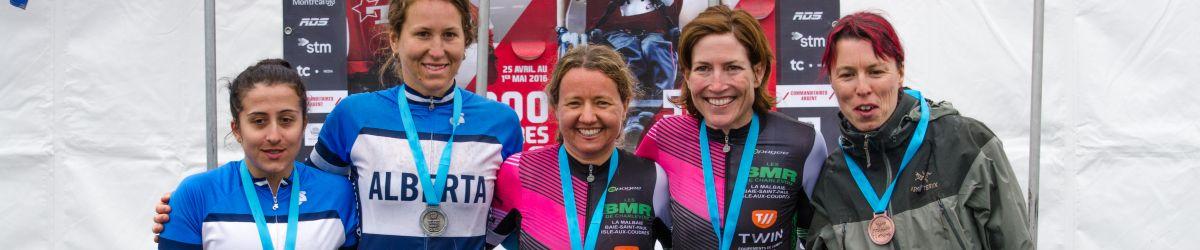 Médaillées de la course sur route en vélo tandem au Défi sportif 2016