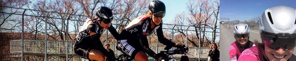 Banner avec deux photos des athlètes en vélo tandem Cindy Morin et sa pilote Véronique Labonté ainsi qu'Annie Bouchard et sa pilote Sonia Cyr. Photos gracieuseté d'Annie Bouchard et Cindy Morin.
