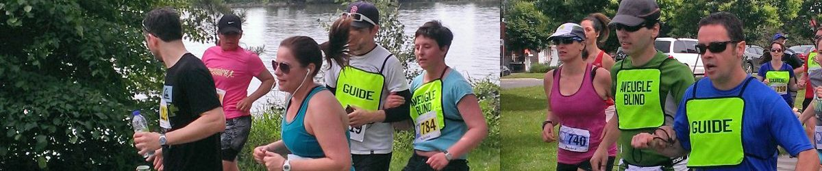 Plusieurs coureurs lors du Défi DMLA 2015 donc Sabrina Pilon et son guide et Frédéric Gauthier et son guide accompagnateur.