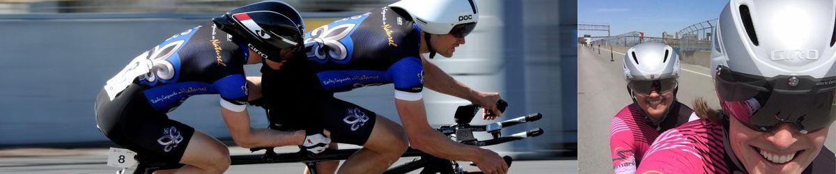 Deux photos des athlètes en vélo tandem en pleine course : Daniel Chalifour et son pilote et Annie Bouchard et sa pilote. Crédit photo Jean-Baptiste Benavent et Annie Bouchard.