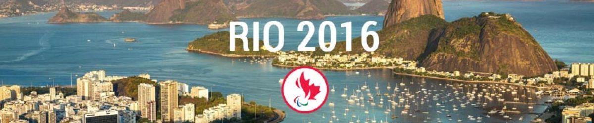 Panoramique de la Ville de Rio de Janeiro avec le logo d'Équipe Canada. Crédit –photo : Comité paralympique canadien.