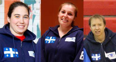 Nathalie Séguin, entraîneur-chef des équipes québécoises seniors de goalball, de Lydia Beaulieu assistante-entraîneur et de Jean-Michel Lacroix, entraîneur de l'équipe masculine junior de goalball.