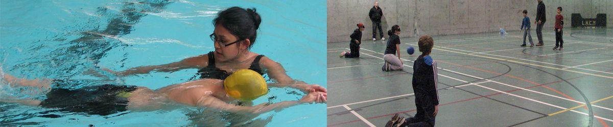 Banner avec deux photos: Un jeune est initié à la natation avec son entraîneur. Des enfants en train de jouer au goalball.