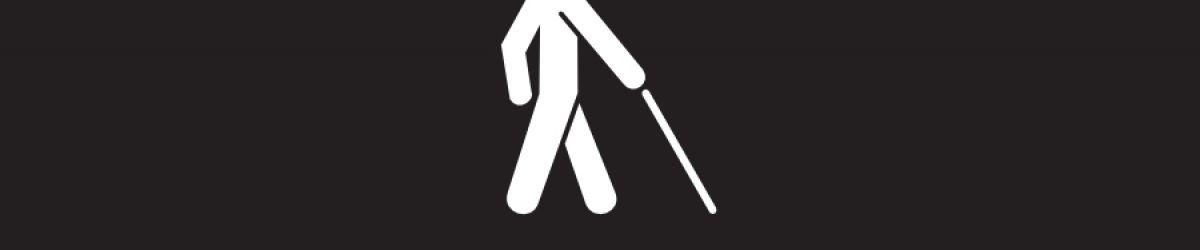 Icone d'une personne aveugle marchant avec une canne.