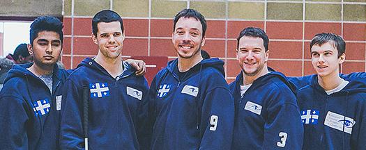 Équipe masculine de Goalball du Québec. De gauche à droite: Rakibul Karim, Josué Coudé, Simon Tremblay, Bruno Haché et Tristan Lépine-Lacroix.