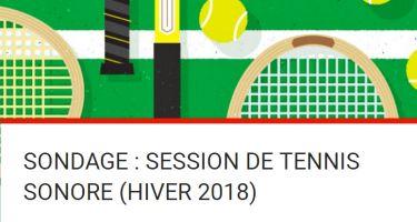 """Image avec le titre """" Sondage : session du tennis sonore Hiver 2018, sur un fond avec de raquettes et de balles de tennis."""