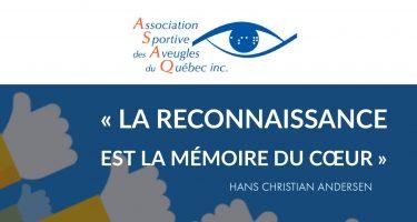 Logo de l'ASAQ et citation : « La reconnaissance est la mémoire du cœur » Hans Christian Andersen.
