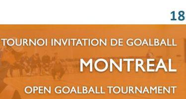 Banner de la 18e édition du Tournoi Invitation de Goalball de Montréal avec les logos de l'ASAQ, Ville de Montréal et Québec.