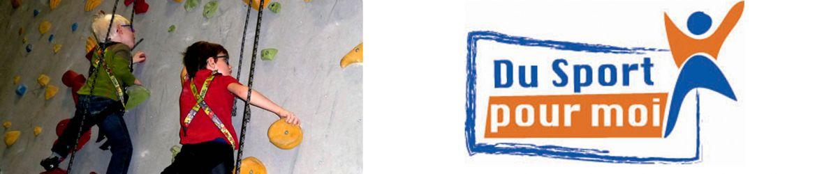 Banner - Du côté gauche, une photo de deux jeunes en train de faire de l'escalade. Du côté droit. le logo du programme Du Sport pour moi, Printemps 2018 à Québec.