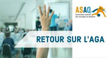 Photo avec image d'une rencontre avec logo de l'ASAQ à droite et le texte: Retour sur l'AGA.