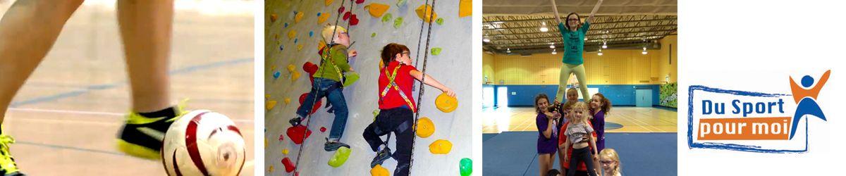Bandeau avec photos montrant trois différentes activités du programme Du Sport pour moi : le cécifoot, l'escalade, le cheerleading et le logo du programme.