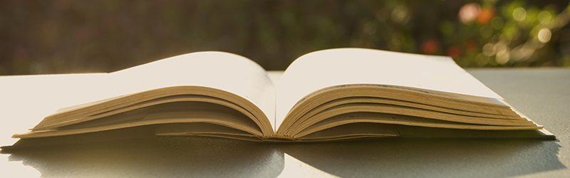 Livre ouvert. Livre ouvert sur une vieille table en bois sur fond de nature.