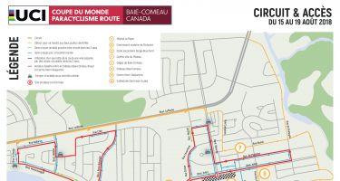 Carte du parcours de la Coupe du Monde Paracyclisme Route UCI - Baie-Comeau.