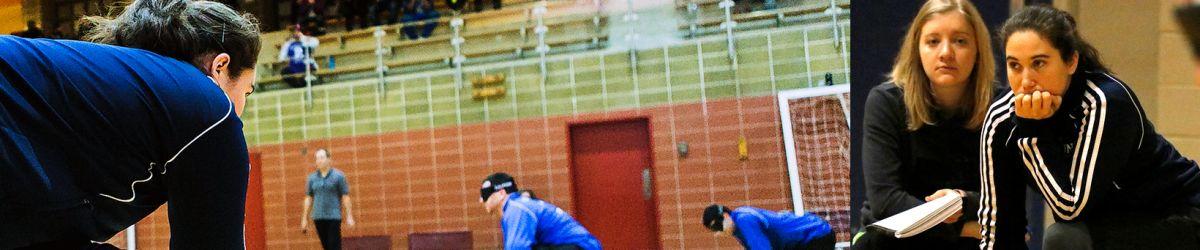 Banner Semaine nationale des entraîneurs avec le logo de l'ASAQ et deux photos de Nathalie Séguin en train de regarder attentivement deux parties de goalball.