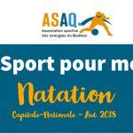 Image – Logo ASAQ. Du Sport pour moi ! Natation. Capitale-Nationale. Aut. 2018.