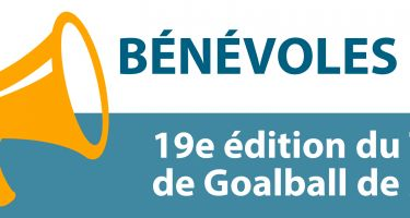 Bandeau - Bénévoles recherchés. 19e édition du Tournoi Invitation de Goalball de Montréal.