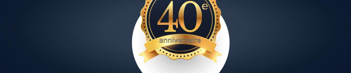 BANDEAU - Ruban 40e anniversaire en couleur doré sur un fond bleu foncé.