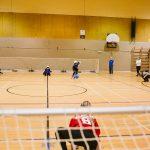 TIGM2019-Une joueuse de l'Alberta se positionne pour bloquer.