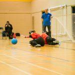 TIGM2019-Deux joueuses de l'Alberta s'apprêtent à bloquer le ballon.