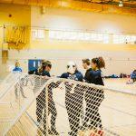 TIGM2019-Mi-temps des joueuses de la Nouvelle-Écosse et de leurs entraîneurs.