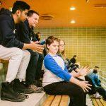TIGM2019-Raki, Bruno, Ludovic et Roxanne assis dans les gradins.
