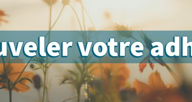 Bandeau – Image de fond d'un champ de fleurs jaunes avec le texte « Renouveler votre adhésion ».
