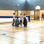 12. Tournoi de mini-goalball Mars 2019 - Caucus d'équipe pour les Phurax avec leurs entraîneurs.
