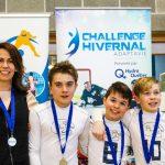 21. Tournoi de mini-goalball Mars 2019 - L'équipe des Phurax avec leurs médailles d'argent et leur entraîneure Katia, Philip, Julien et Maxence/.