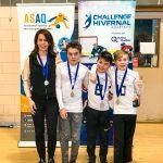 22. Tournoi de mini-goalball Mars 2019 - Les Phurax avec leurs médailles d'argent et leur entraîneure Katia, Philip, Julien et Maxence
