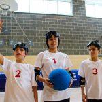 4. Tournoi de mini-goalball Mars 2019 - L'équipe des Marinelli, (de gauche à droite) Mathys, Daphné et Jacob.