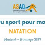 Image couverture. Logo ASAQ Du sport pour moi! - Natation. Montréal - Printemps 2019.