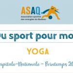 Couverture - Logo ASAQ - Du sport pour moi! Yoga - Capitale-Nationale Printemps 2019.