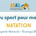 Couverture - Logo ASAQ - Du sport pour moi! Natation - Capitale-Nationale Printemps 2019.
