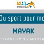 Image couverture. Logo ASAQ Du sport pour moi! Mayak. Automne 2019. Montréal.