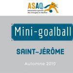 Logo ASAQ. Mini-goalball Saint-Jérôme. Automne 2019.