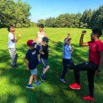 Programme DSPM Montréal-Athlétisme. Le groupe font des exercices.