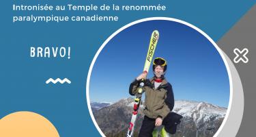 Photo: Viviane Forest sur une pente de ski. Texte: Viviane Forest intronisée au Temple de la renommée paralympique canadienne. Bravo!
