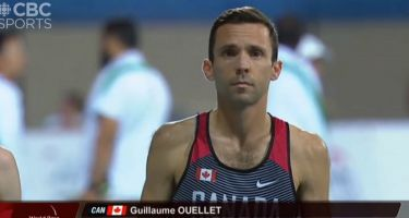 Capture d'écran, Guillaume Ouellet à la fin de l'épreuve de 5000 m - temps 14:45.63. Crédit-photo: Sportcom