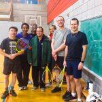 Tennis sonore ASAQ Aut. 2019. Photo de groupe 1 avec Alain, Neima, Naomie, Dimitri, Sabrina, Hugues et Yan.