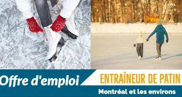 Première photo : Une fille en train d'attacher les lacets de patins à glace. Elle porte de gants rouges en tricot. Deuxième photo : Une femme et une fille en train de faire du patin. Texte : Offre d'emploi : entraîneur de patin. Montréal et les environs.